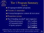 tier 1 program summary cont d