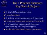 tier 1 program summary key sites projects