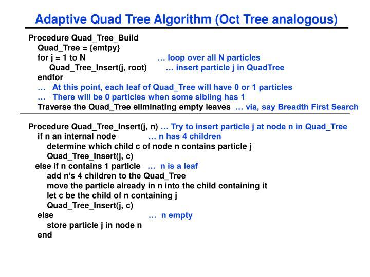 Adaptive Quad Tree Algorithm (Oct Tree analogous)