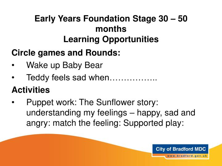 Early Years Foundation Stage 30 – 50 months