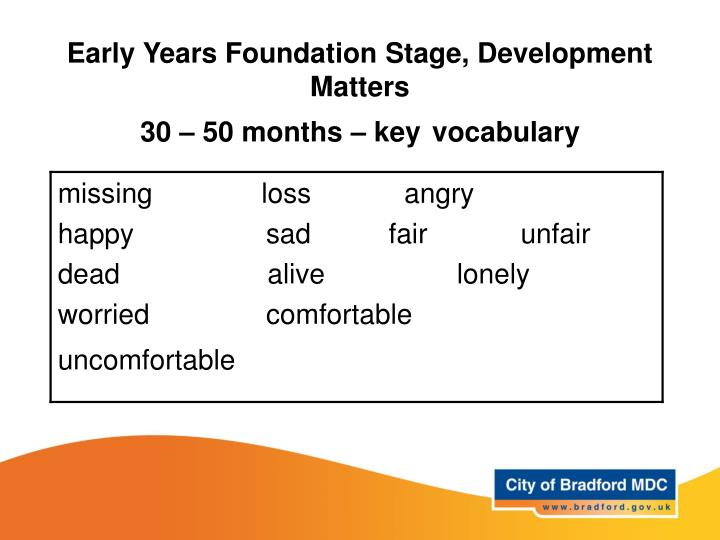 Early Years Foundation Stage, Development Matters