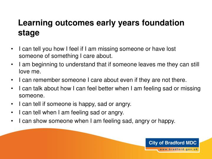 Learning outcomes early years foundation stage