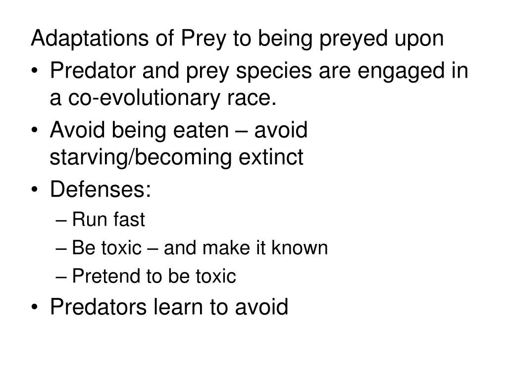 Adaptations of Prey to being preyed upon
