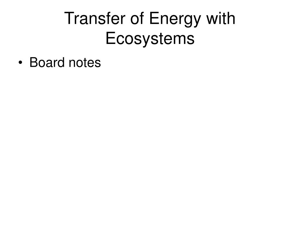 Transfer of Energy with Ecosystems