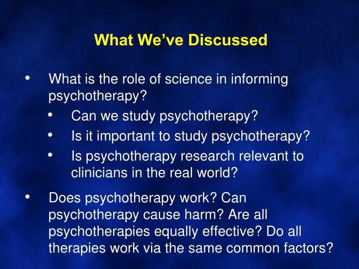 What we ve discussed