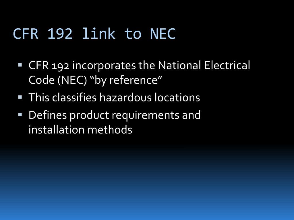 CFR 192 link to NEC