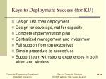 keys to deployment success for ku