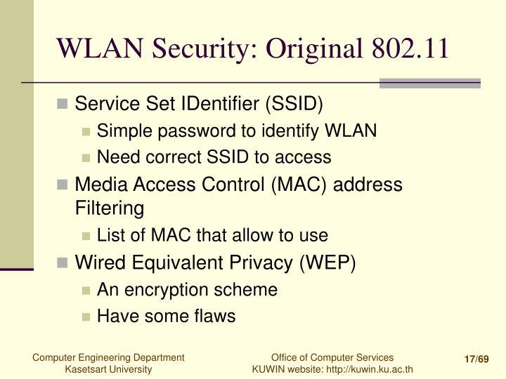 WLAN Security: Original 802.11