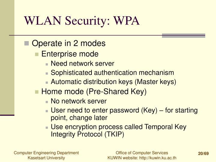 WLAN Security: WPA