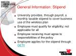general information stipend