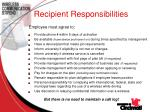 recipient responsibilities