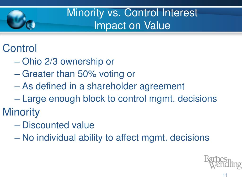 Minority vs. Control Interest