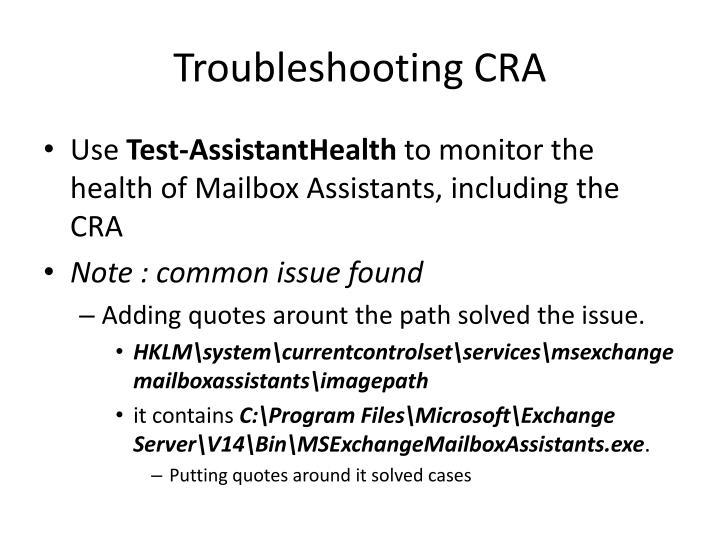 Troubleshooting cra
