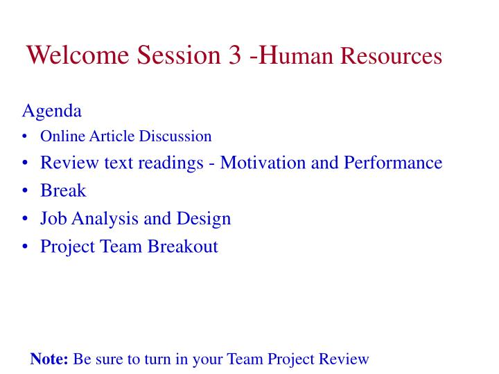 welcome session 3 h uman resources