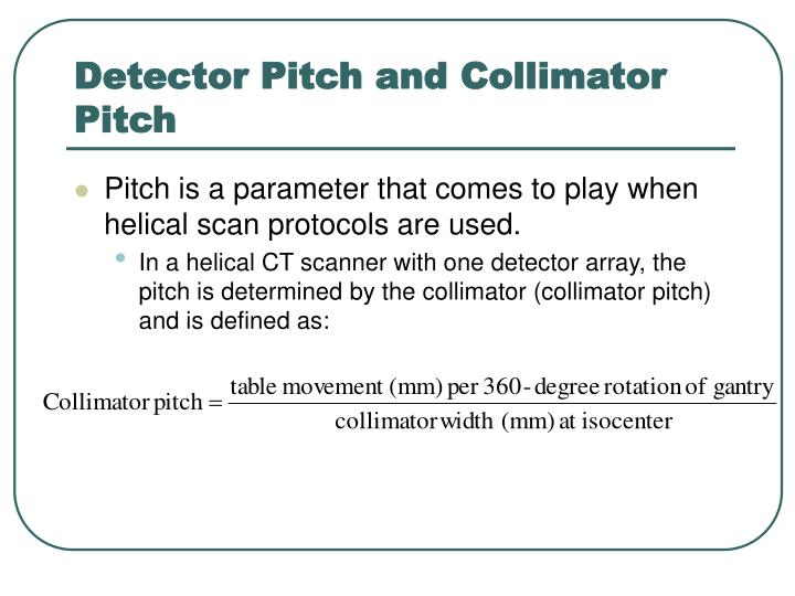 Detector Pitch and Collimator Pitch