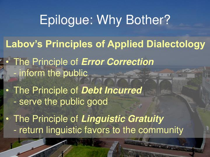 Epilogue: Why Bother?