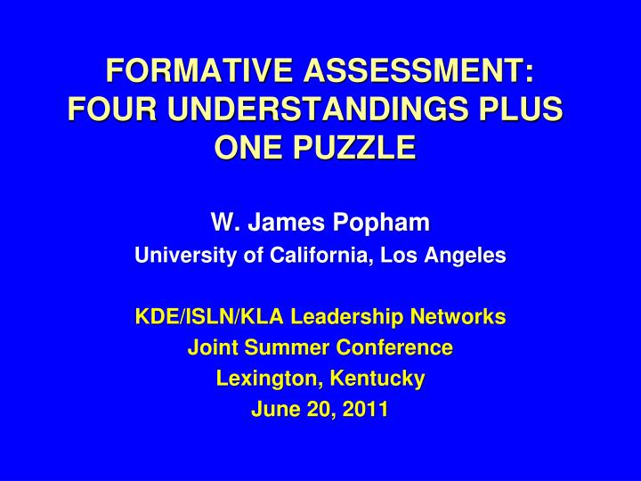 formative assessment four understandings plus one puzzle n.