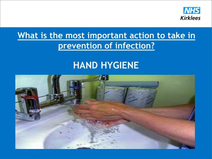 What is the most important action to take in prevention of infection?