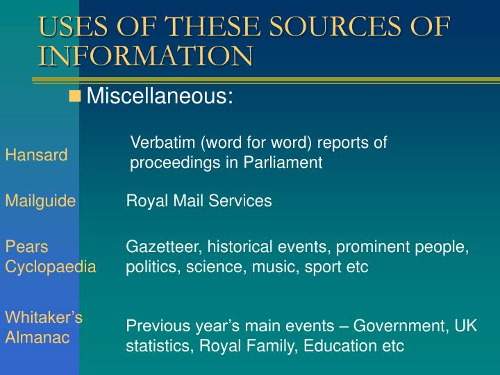 sources of information In scientific research, primary sources present original thinking, report on discoveries, or share new information examples of primary sources:.