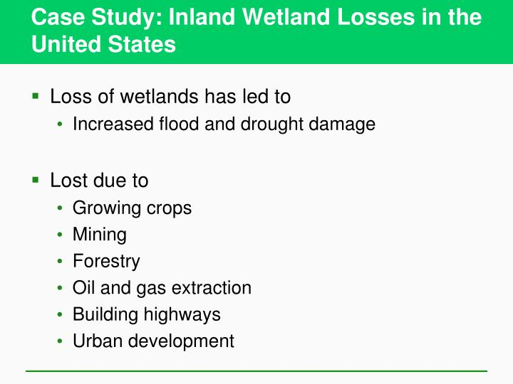 Case Study: Inland Wetland Losses in the United States