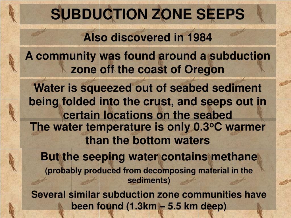 SUBDUCTION ZONE SEEPS