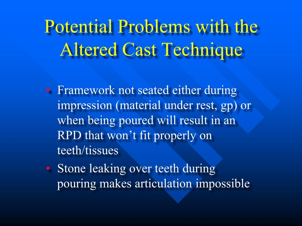 Potential Problems with the Altered Cast Technique