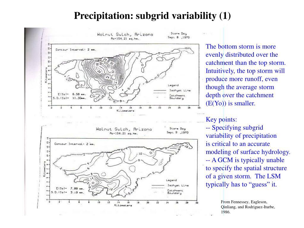 Precipitation: subgrid variability (1)