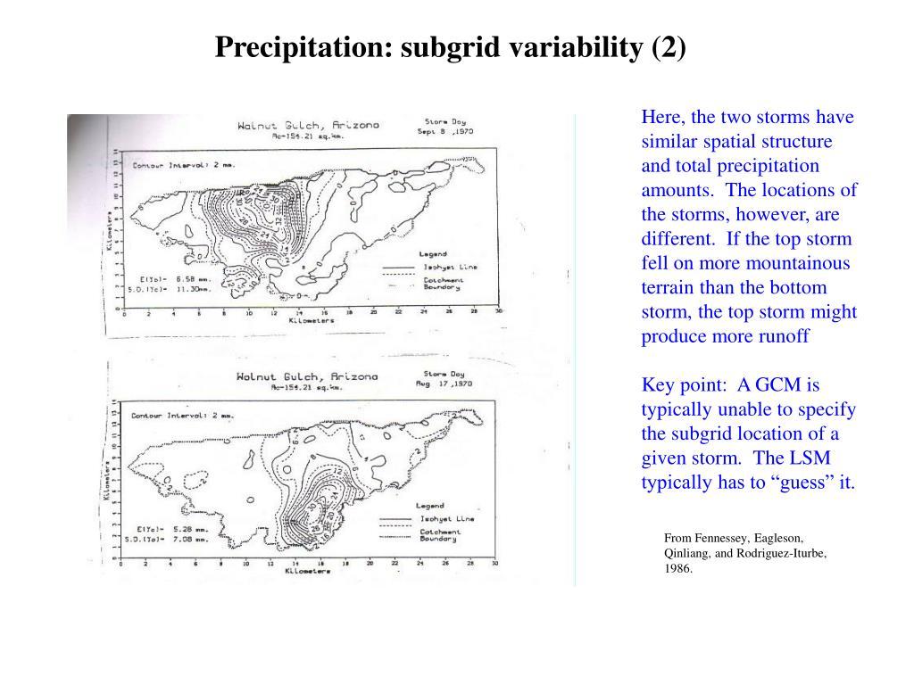 Precipitation: subgrid variability (2)
