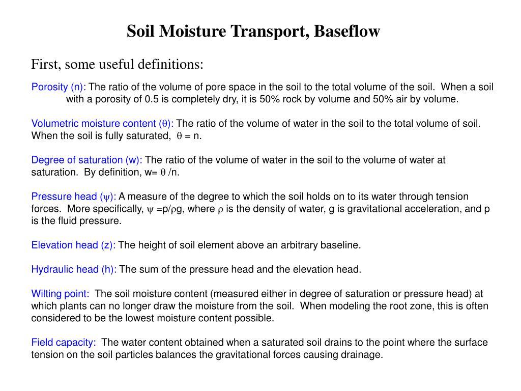 Soil Moisture Transport, Baseflow