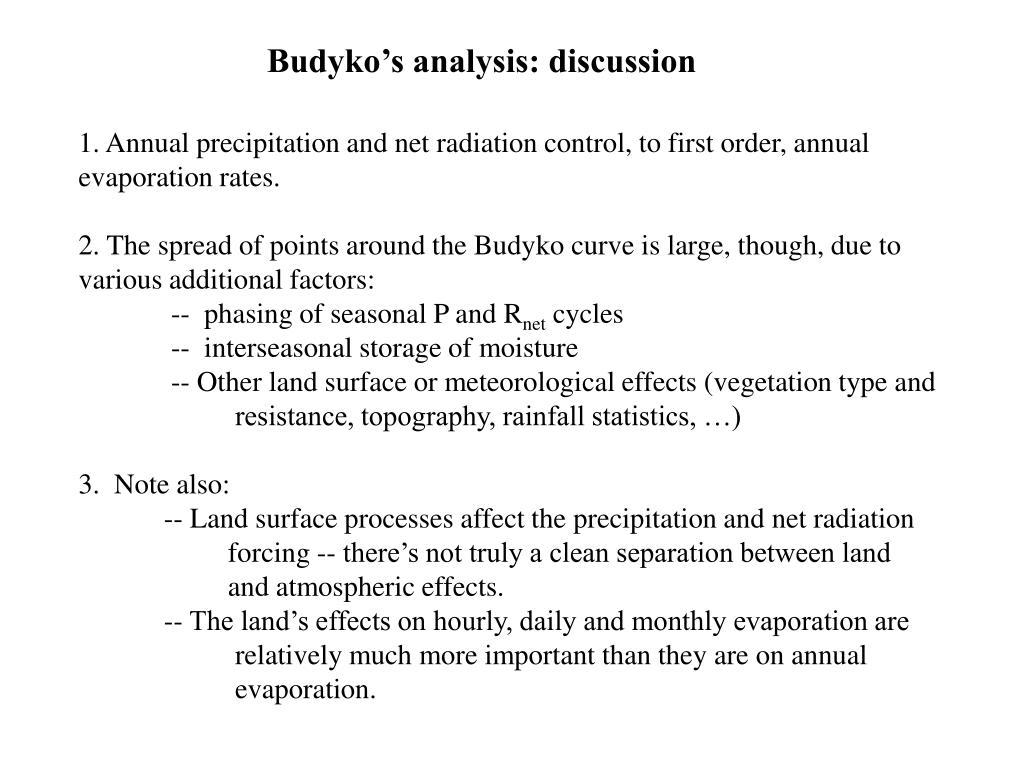 Budyko's analysis: discussion
