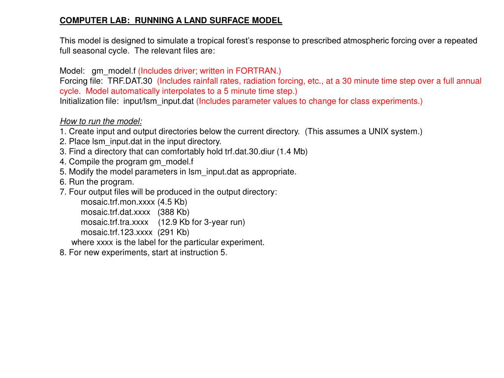 COMPUTER LAB:  RUNNING A LAND SURFACE MODEL