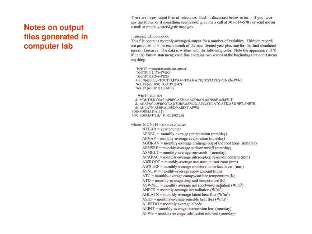 Notes on output files generated in computer lab
