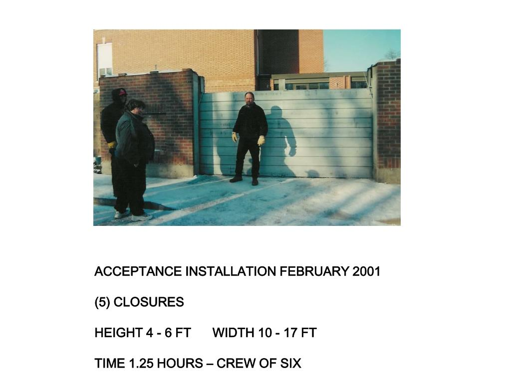 ACCEPTANCE INSTALLATION FEBRUARY 2001