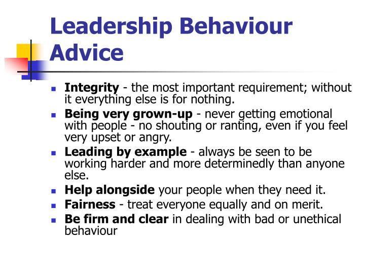 Leadership Behaviour Advice