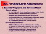 key funding level assumptions