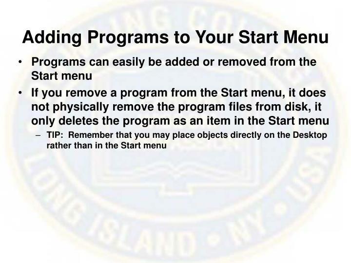 Adding programs to your start menu