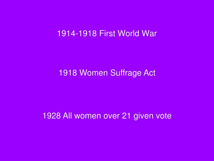 1914-1918 First World War