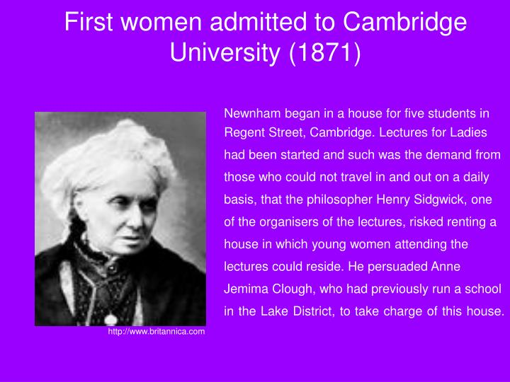 First women admitted to Cambridge University (1871)