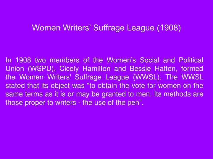 Women Writers' Suffrage League (1908)