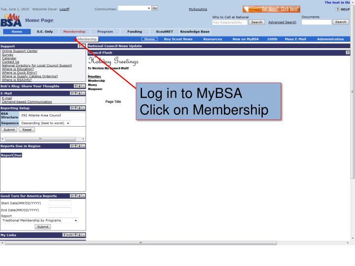 Log in to MyBSA
