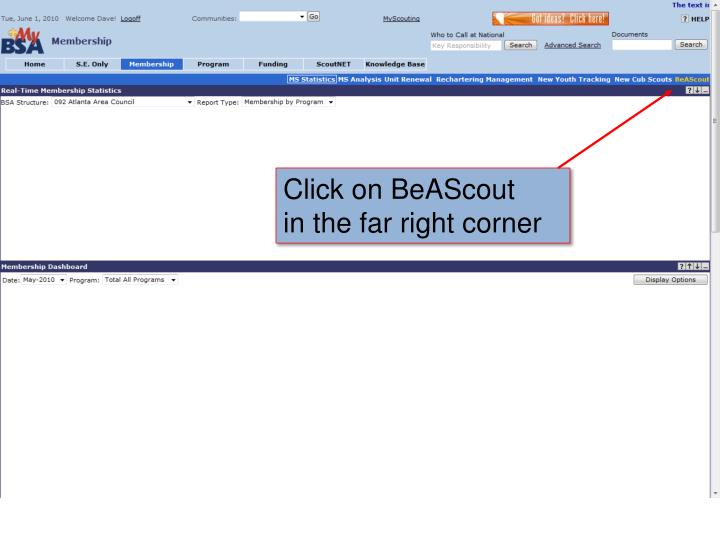 Click on BeAScout