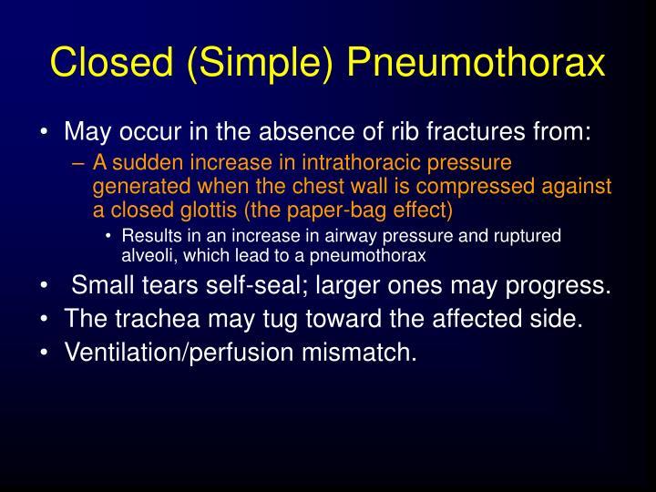 Closed (Simple) Pneumothorax