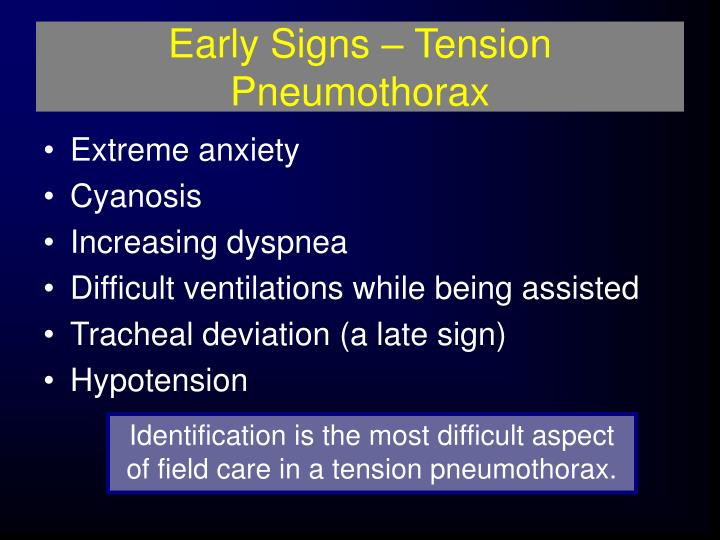 Early Signs – Tension Pneumothorax