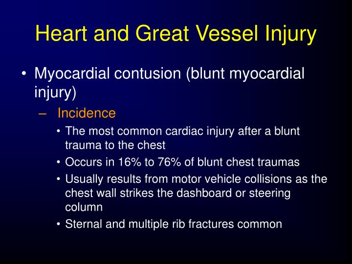 Heart and Great Vessel Injury