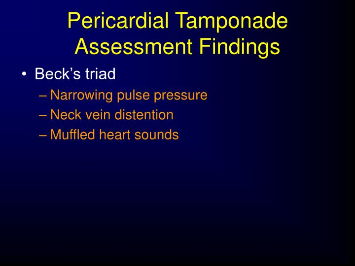 Pericardial Tamponade Assessment Findings