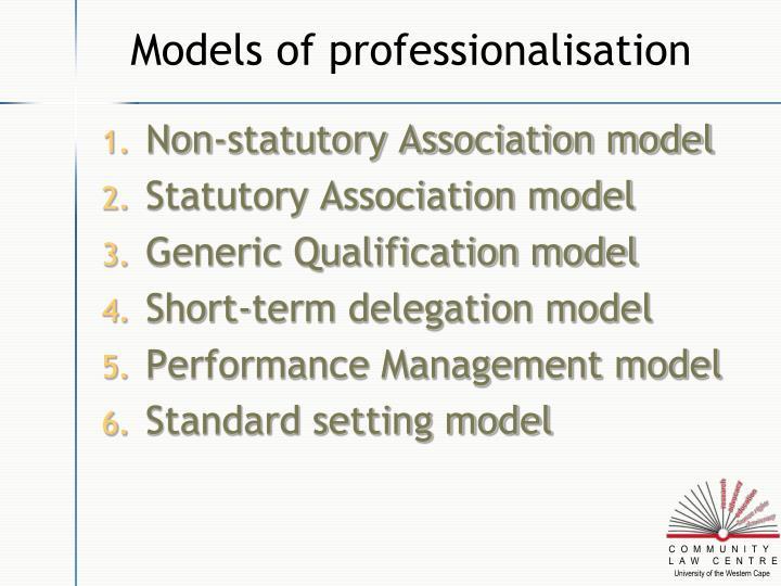 Models of professionalisation