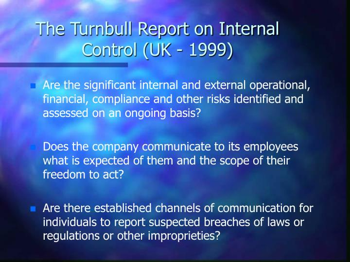 The Turnbull Report on Internal Control (UK - 1999)