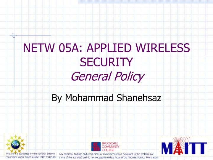 netw 05a applied wireless security general policy n.