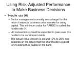 using risk adjusted performance to make business decisions12