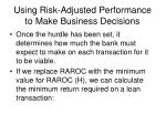 using risk adjusted performance to make business decisions13